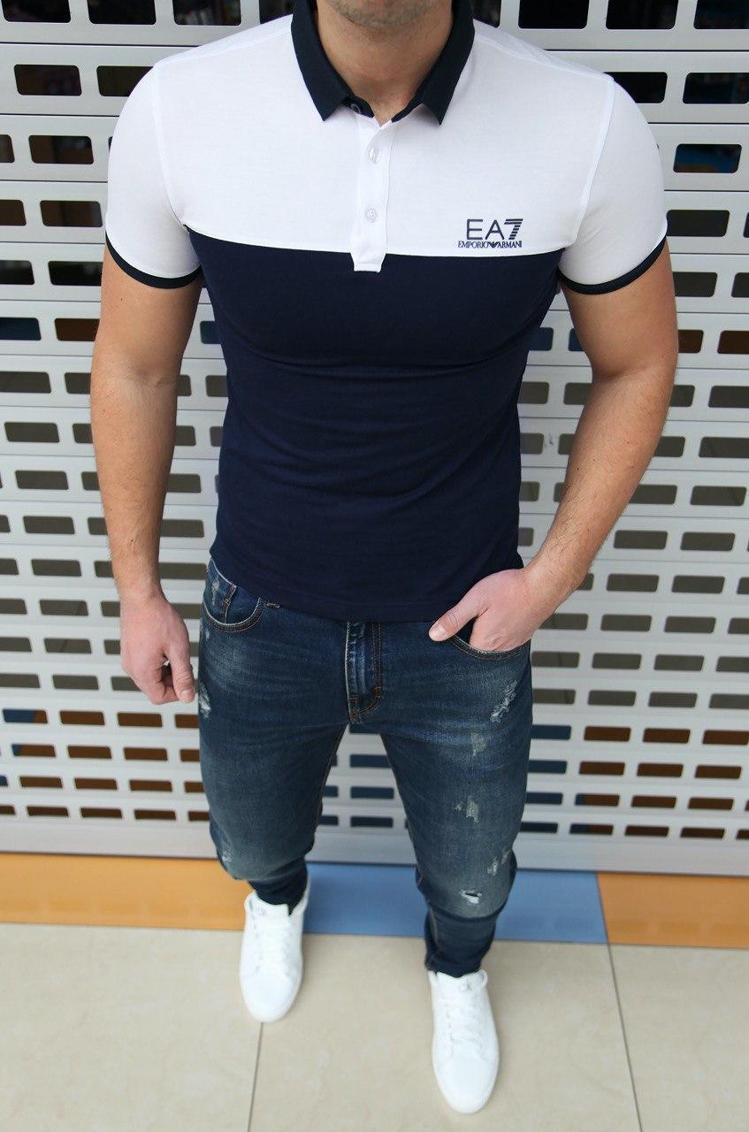 Мужская футболка поло Emporio Armani H0441 синяя