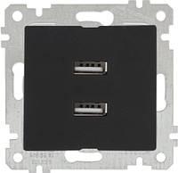 """MUTLUSAN """"Rita"""" Механизм розетки 2-я USB горизонтальная черная (2200 449 0184)"""