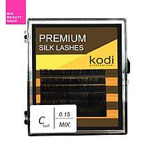Ресницы для наращивания, темно-коричневые Kodi Professional №C.0.15 6 рядов: 8-3; 14-3