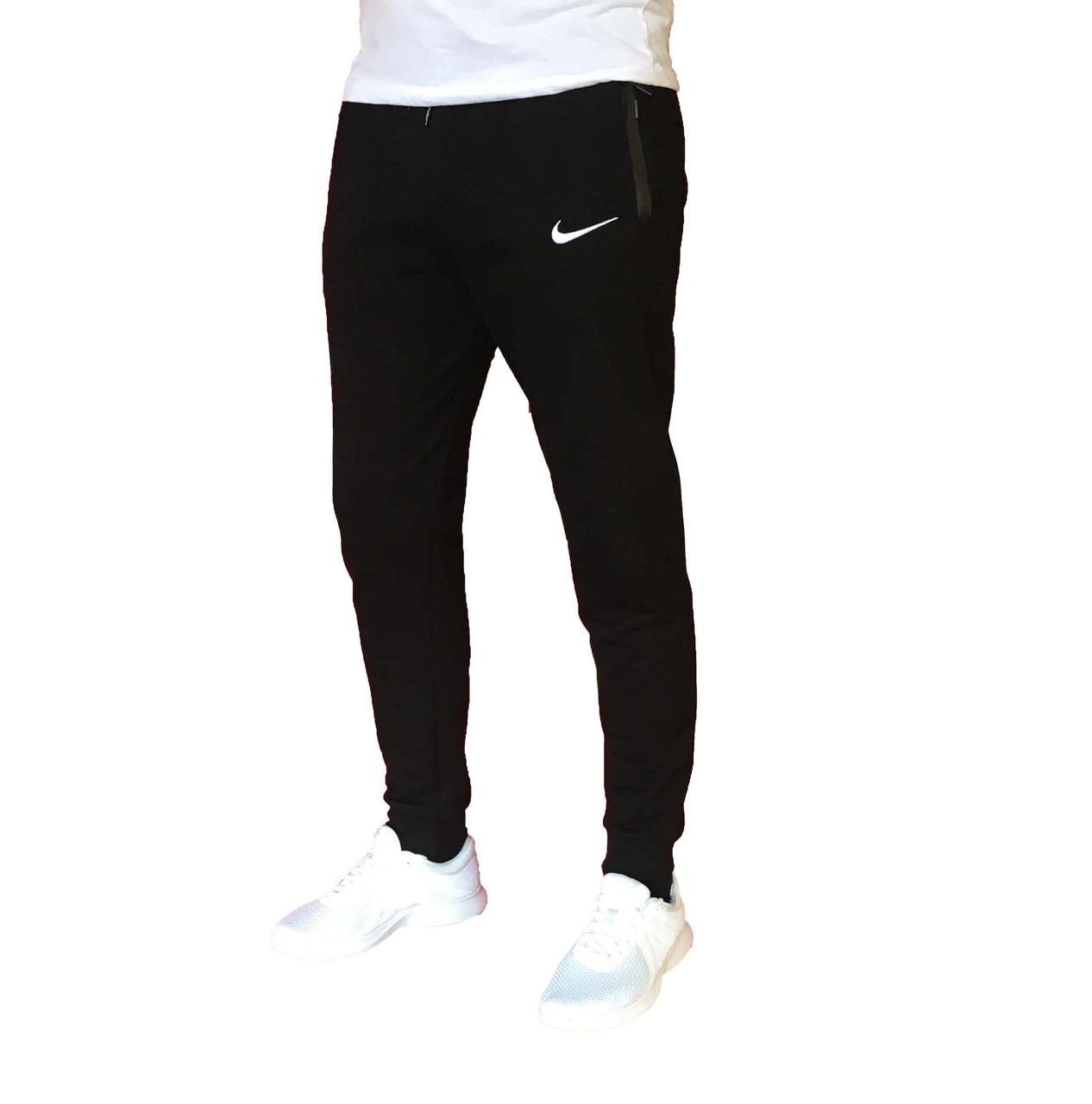 Мужские трикотажные черные спортивные штаны на манжете(Реплика)