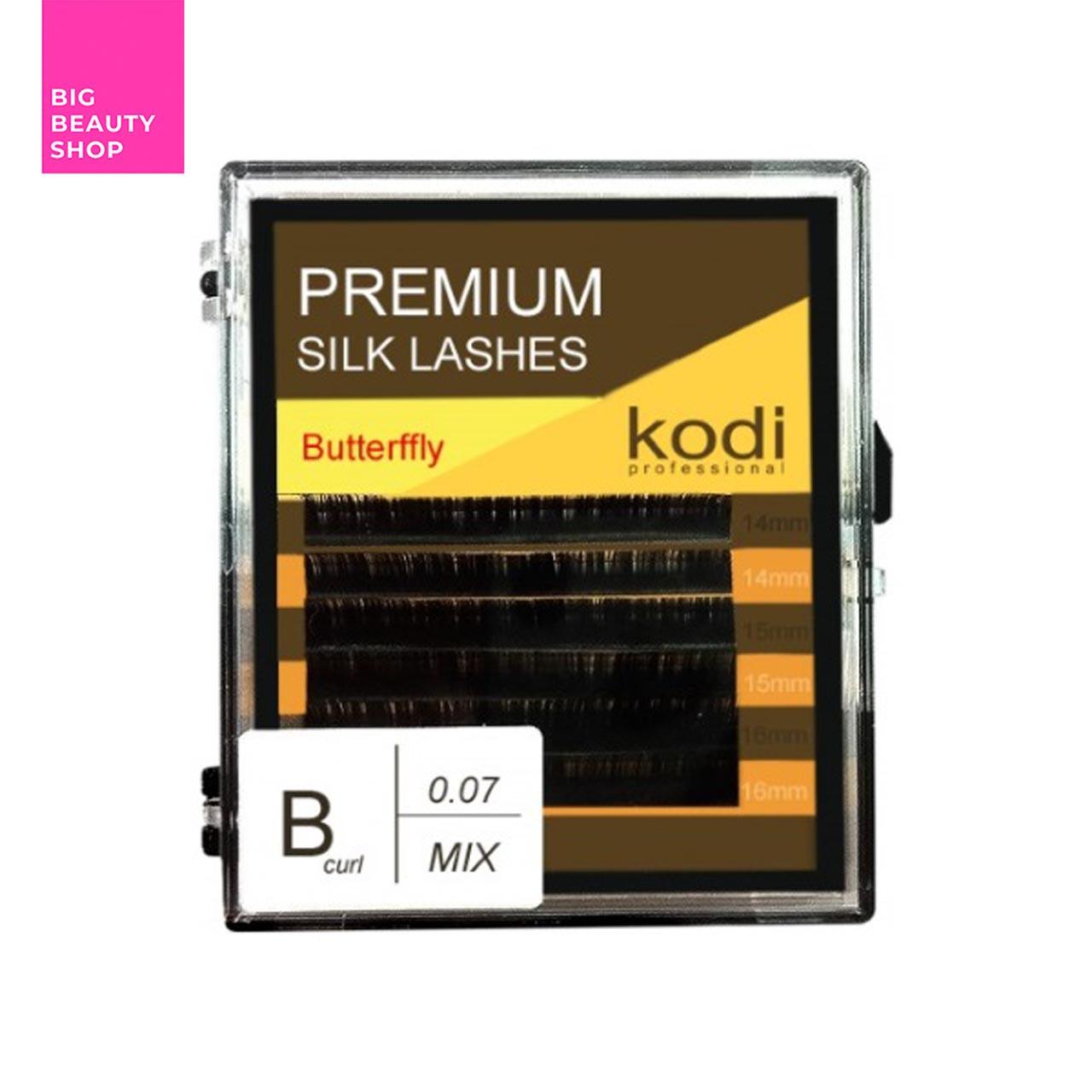 Ресницы для наращивания, черные Kodi Professional №В.0.07 6 рядов: 14-2; 15-2; 16-2