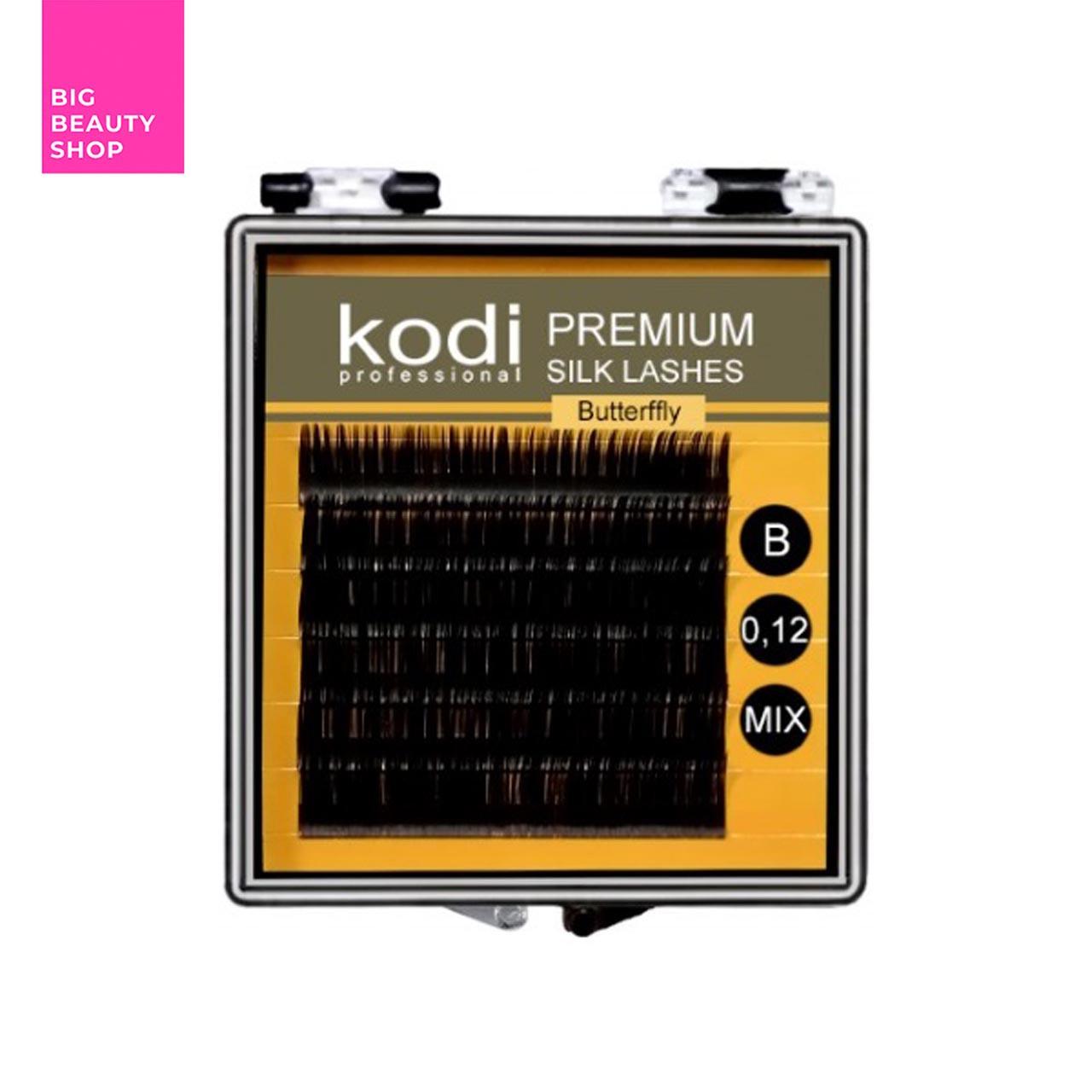 Ресницы для наращивания, черные Kodi Professional №В.0.12 6 рядов: 11-2; 12-2; 13-2