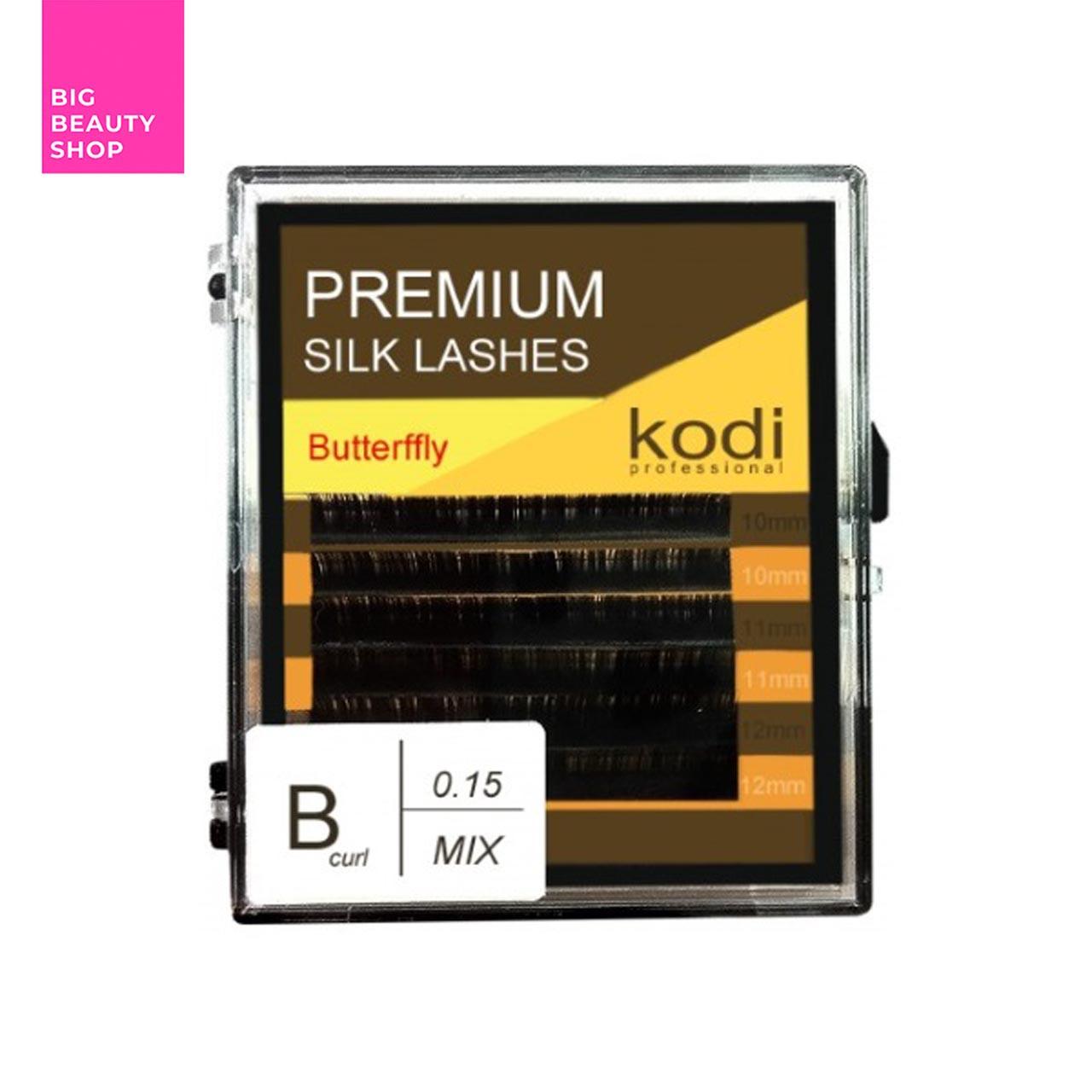 Ресницы для наращивания, черные Kodi Professional №В.0.15 6 рядов: 10-2; 11-2; 12-2