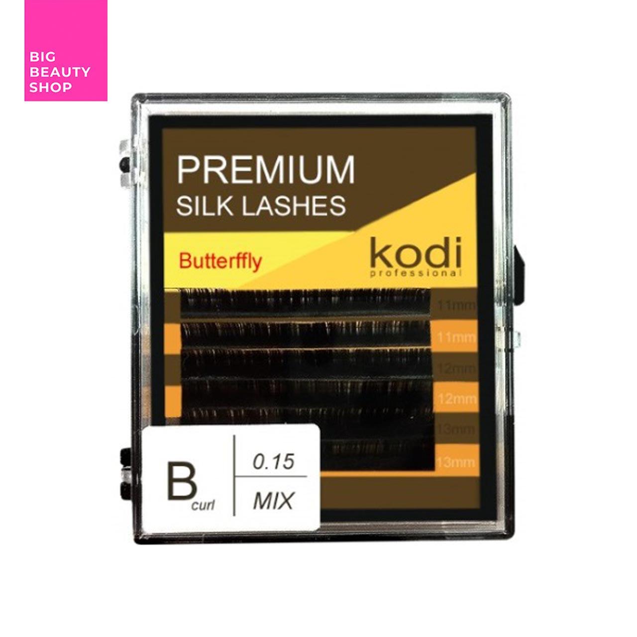 Ресницы для наращивания, черные Kodi Professional №В.0.15 6 рядов: 11-2; 12-2; 13-2