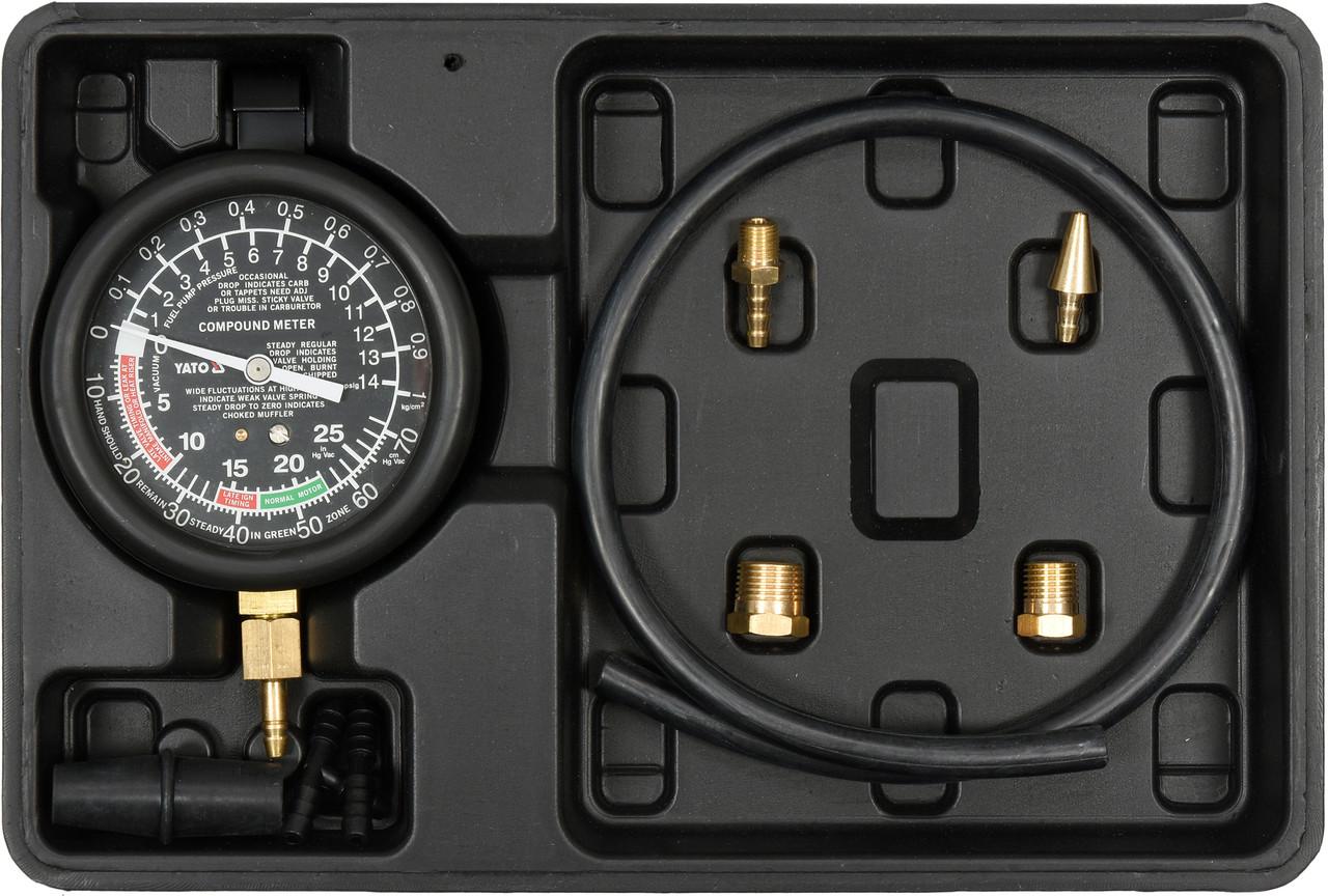 Тестер для вимірювання вакуума і компресії YATO 0-0.1 МПа, зі спорядженням, 9 шт + кейс