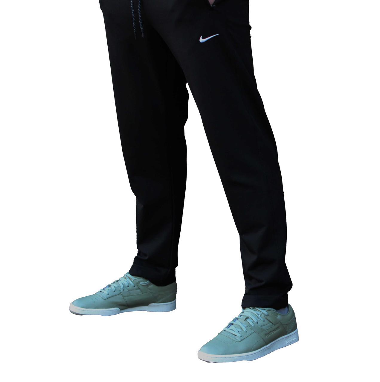 Мужские черные трикотажные штаны прямые (Реплика)