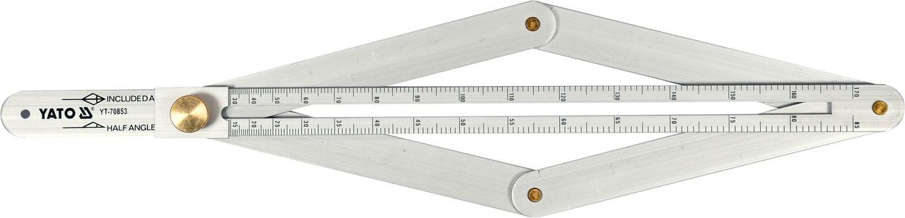 Угломер алюминиевый на шарнирах YATO внешний/внутренний диапазоны- 10-170°/5-85° 380 мм