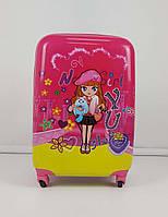 Розовый чемодан на колесиках для девочек с ярким принтом, фото 1