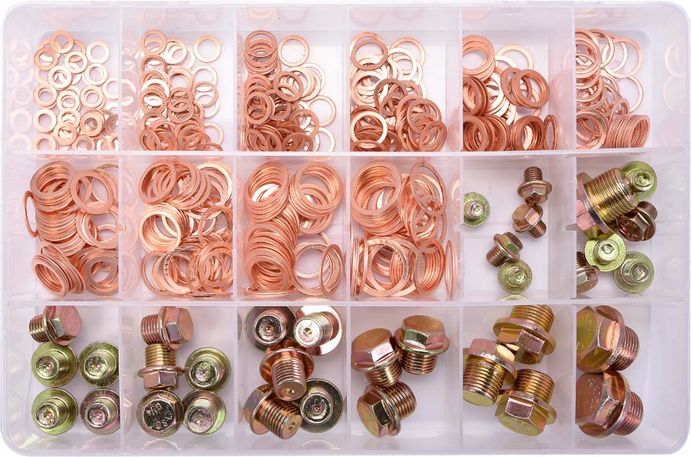 Шайби Ø= 6- 20 мм і заглушки М8- М20, G 1/4 мідні YATO в пластиковій коробці; наб. 534 шт.