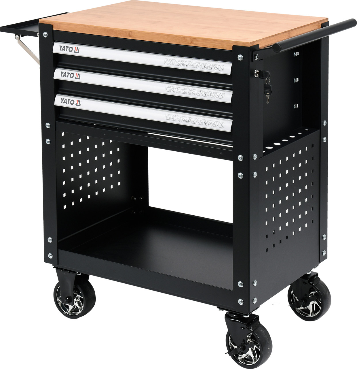 Шкаф с инструментами на 4 колесах YATO 90.5 х 68 х 45.5 см с 3 ящиками 162 шт