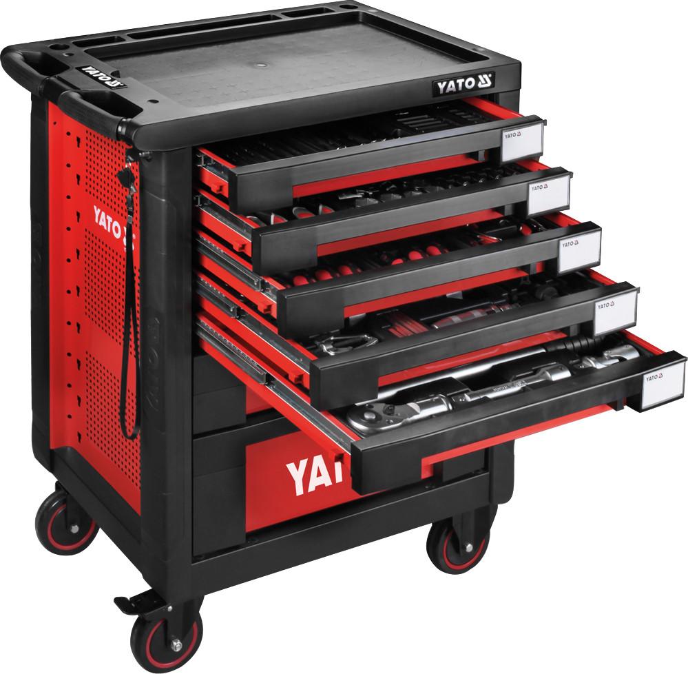 Шкаф с инструментами на 4 колесах YATO 95.8 х 76.6 х 46.5 см с 7 шуфлядами 165 шт