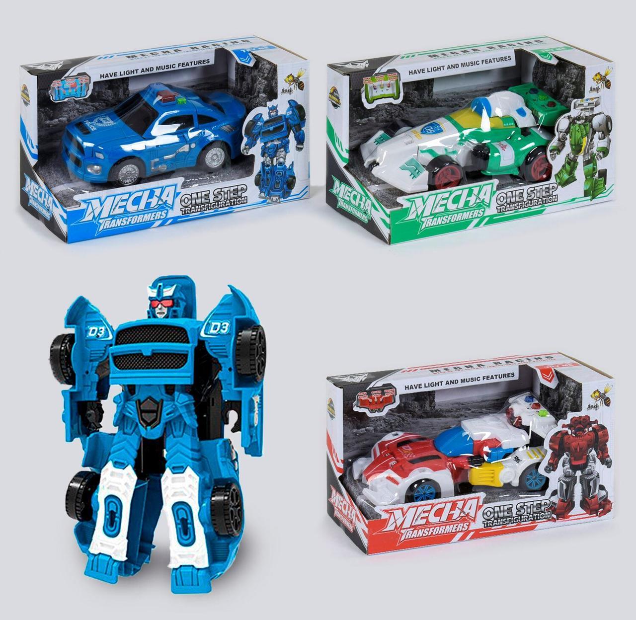 Машина-трансформер на батарейках, світло, звук, в коробці зелена