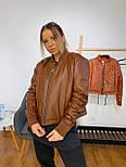 Шкіряна демісезонна куртка-бомбер на блискавці vN7415, фото 5