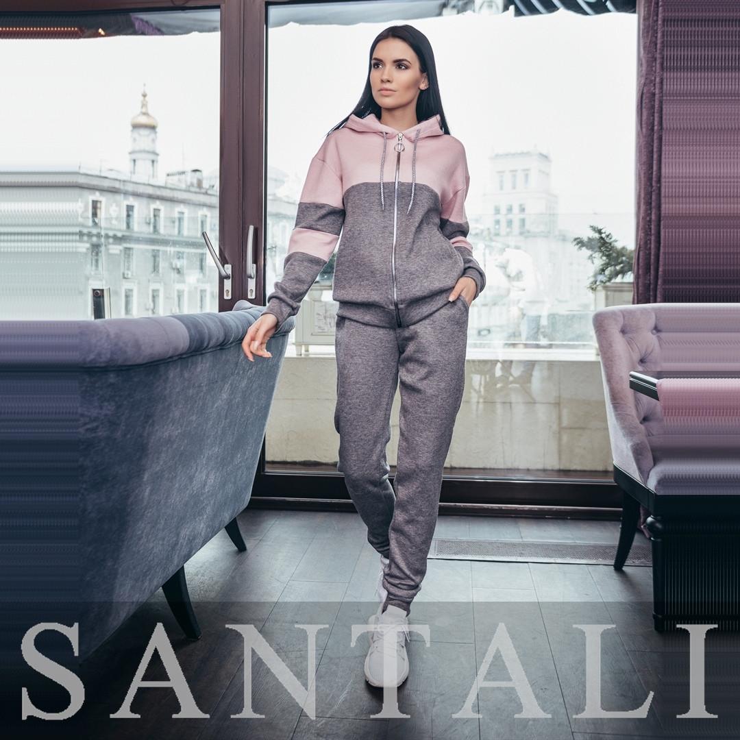 Женский спортивный костюм из ангоры с худи и штанами на манжетах  vN7419