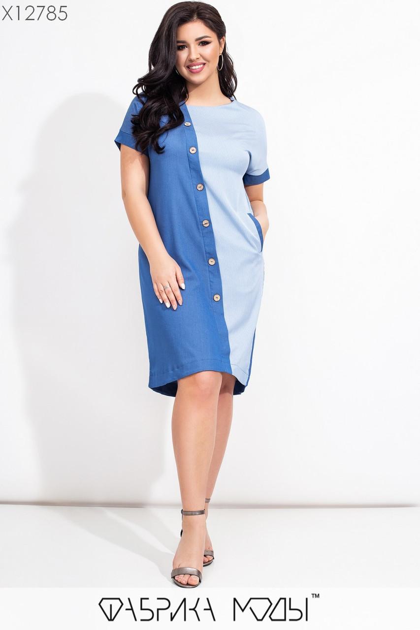 Прямое джинсовое платье в больших размерах с коротким рукавом и декором  vN7448