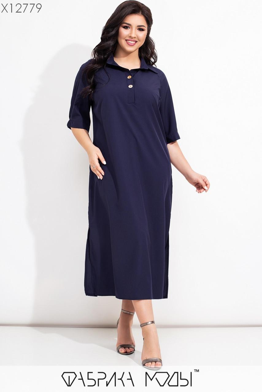 Прямое платье рубашка длинное в больших размерах с рукавом до локтя  vN7450