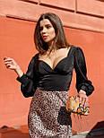 Женская короткая блуза с вырезом декольте и рукавами фонариками  vN7463, фото 2