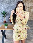 Шелковое платье по фигуре короткое с длинным рукавом и вырезом на спине  vN7472, фото 3