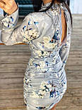 Шелковое платье по фигуре короткое с длинным рукавом и вырезом на спине  vN7472, фото 5