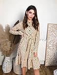 Сукня - сорочка в горошок з пишною спідницею з оборкою і довгим рукавом vN7474, фото 4