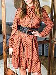 Сукня - сорочка в горошок з пишною спідницею з оборкою і довгим рукавом vN7474, фото 5