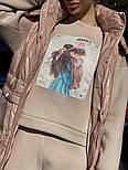 Женский плещевый деми жилет в чрких расцветках с капюшоном  vN7498, фото 6