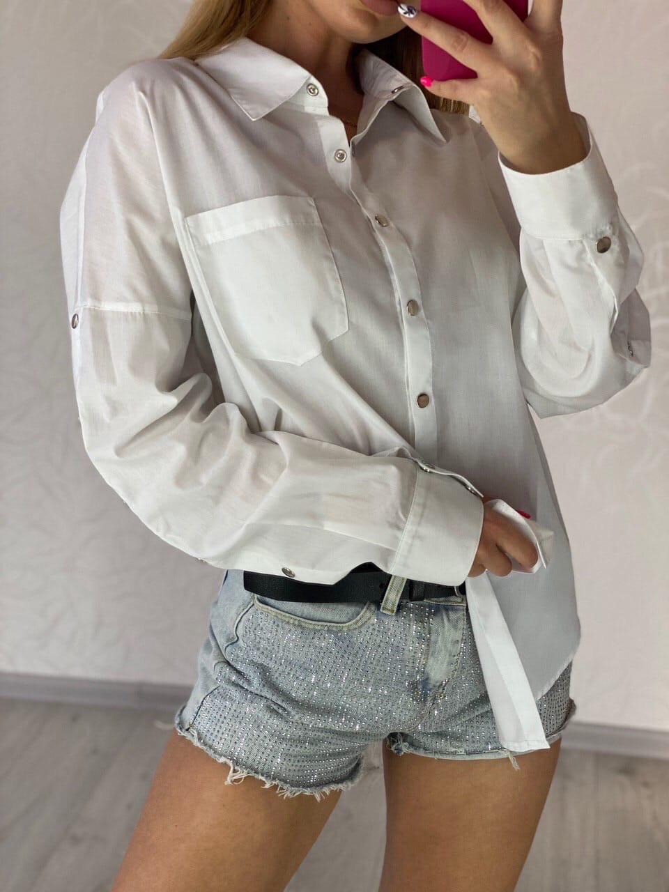 Жіноча вільна сорочка з широкими рукавами і кишенею на грудях vN7552
