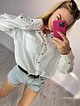Жіноча вільна сорочка з широкими рукавами і кишенею на грудях vN7552, фото 4