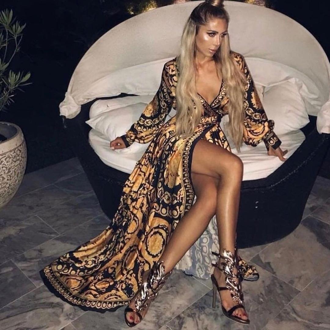 Длинное принтованное платье на запах с разрезом  vN7557