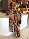 Длинное принтованное платье на запах с разрезом  vN7557, фото 2