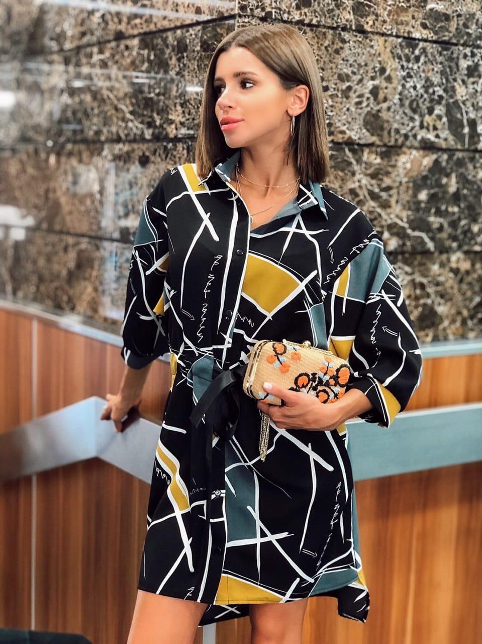 Свободное платье - рубашка в принт с широкими рукавами  vN7564