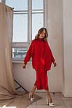 Шовковий жіночий костюм з широкою сорочкою і капрями кльош vN7569, фото 4
