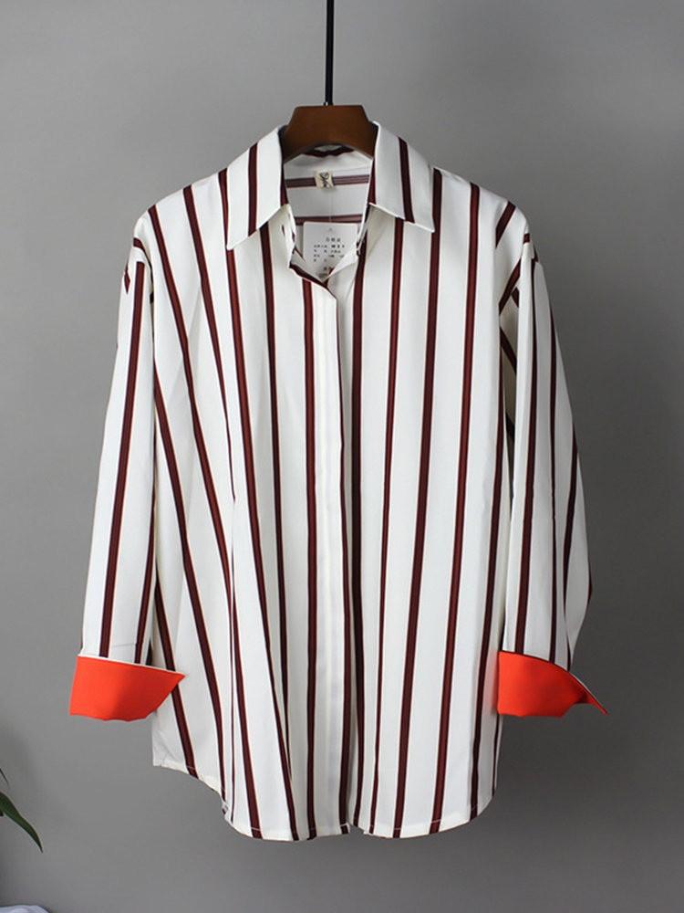 Смугаста жіноча сорочка прямого крою vN7617