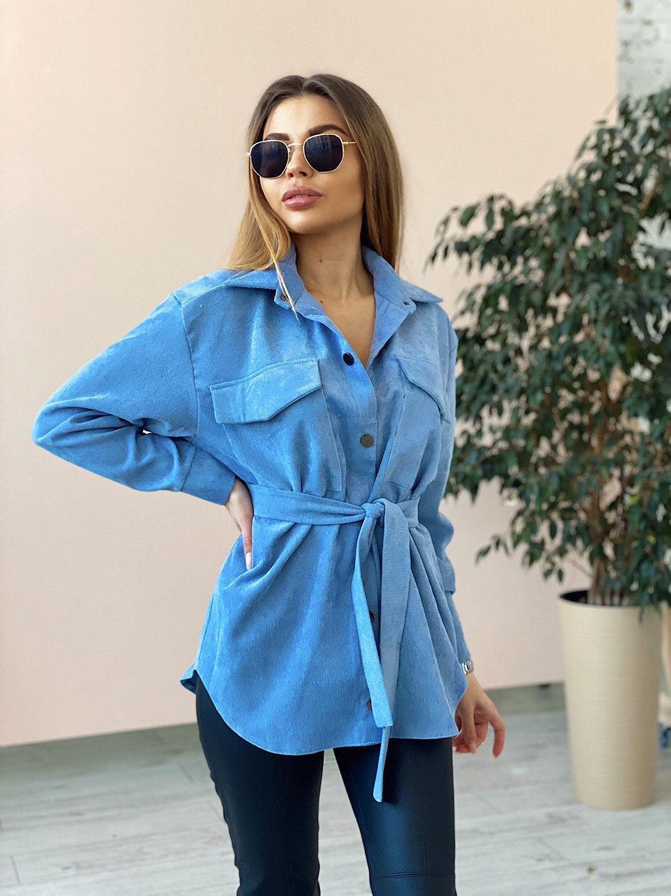 Вельветовая женская рубашка удлиненная с поясом  vN7618
