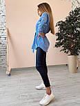 Вельветова жіноча сорочка подовжена з поясом vN7618, фото 4