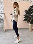 Вельветова жіноча сорочка подовжена з поясом vN7618, фото 5