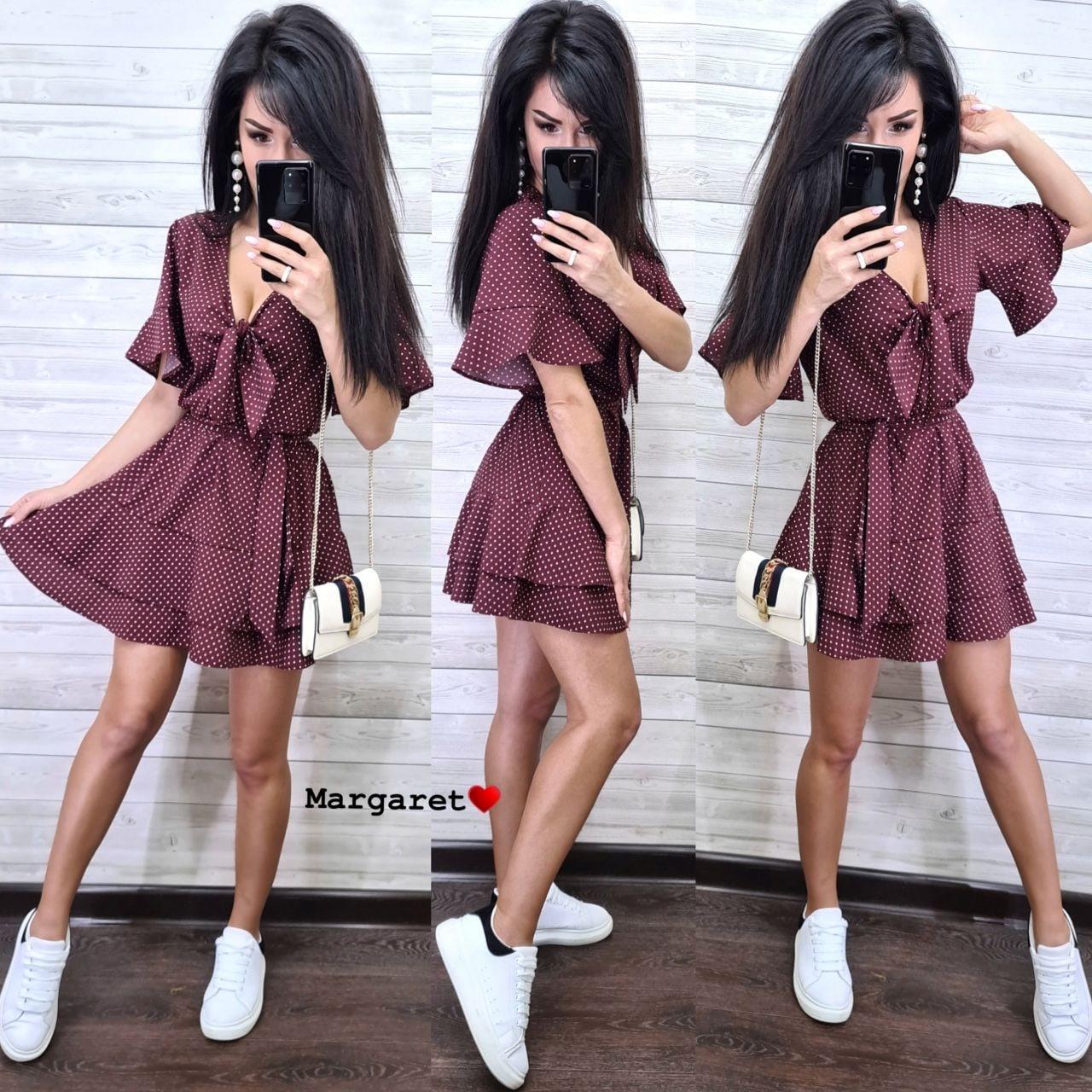 Короткое летнее платье в мелкий горох в расцветках vN7625