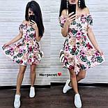 Летнее принтованное платье с открытыми плечами и расклешенной юбкой  vN7626, фото 3