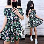 Летнее принтованное платье с открытыми плечами и расклешенной юбкой  vN7626, фото 4