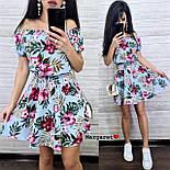 Летнее принтованное платье с открытыми плечами и расклешенной юбкой  vN7626, фото 5