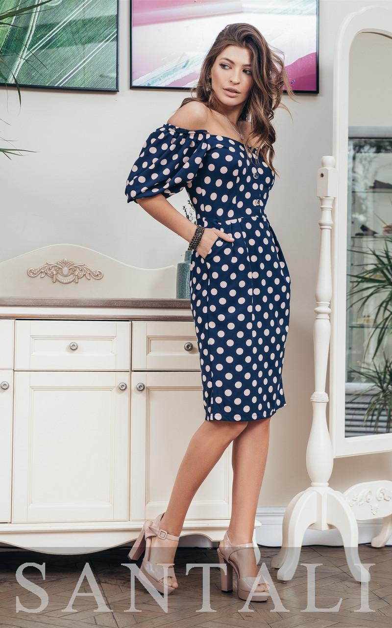 Платье в горошек с открытыми плечами и широкими рукавами фонариками  vN7630