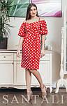 Платье в горошек с открытыми плечами и широкими рукавами фонариками  vN7630, фото 2