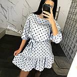 Свободное платье в горошек с рукавом фонариком 3/4и оборкой на юбке  vN7635, фото 2