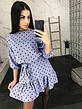 Свободное платье в горошек с рукавом фонариком 3/4и оборкой на юбке  vN7635, фото 3