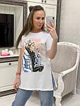 Летняя женская футболка удлиненная с рисунком  vN7672, фото 2