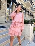 Пряме шифонова сукня в оборках з довгим рукавом vN7691, фото 2