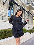 Пряме шифонова сукня в оборках з довгим рукавом vN7691, фото 4