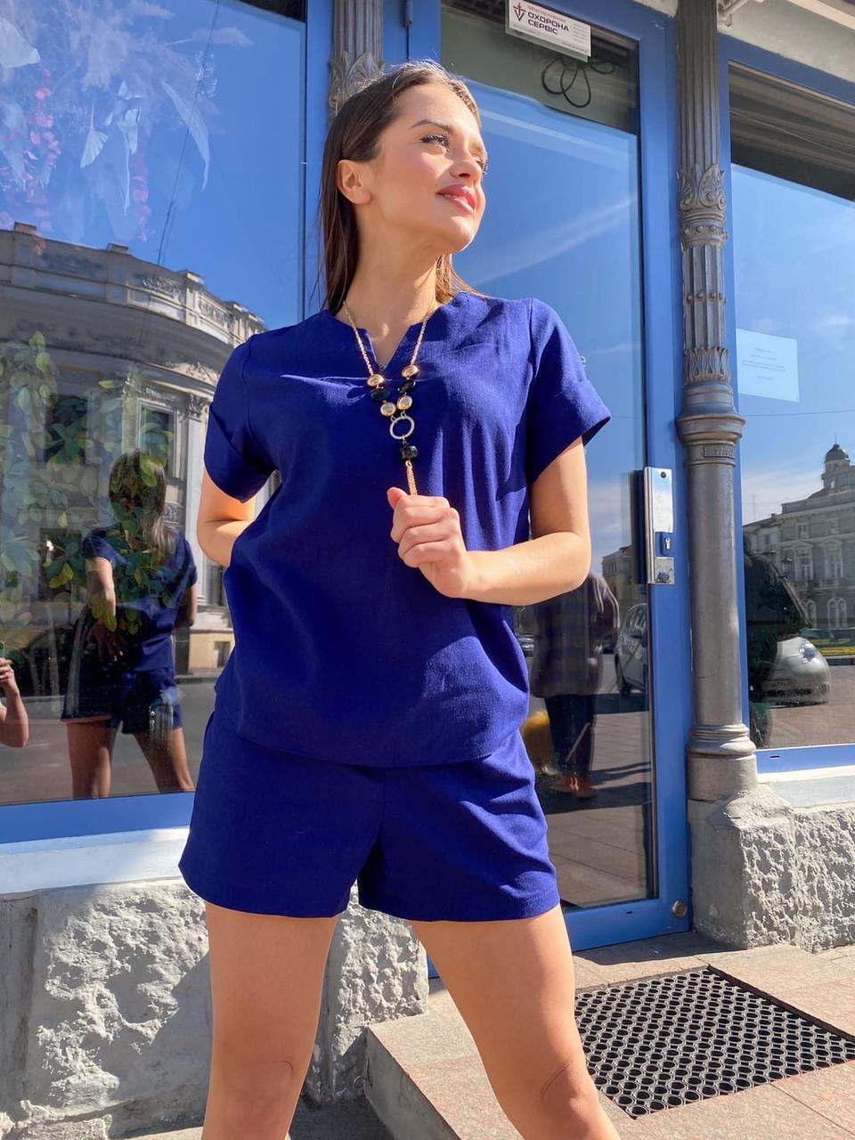 Женский льняной летний костюм с шортами и футболкой  vN7711