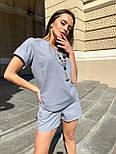 Женский льняной летний костюм с шортами и футболкой  vN7711, фото 2