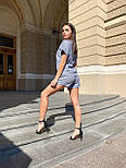 Женский льняной летний костюм с шортами и футболкой  vN7711, фото 3